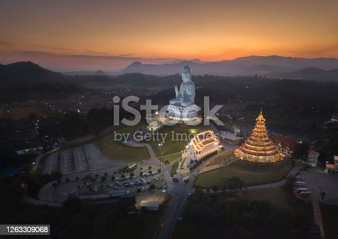 Wat Huay Pla Kang is a temple complex containing a withe big Buddha statue and 9 floor pagoda and a beautiful white temple in Chiangrai, Thailand.