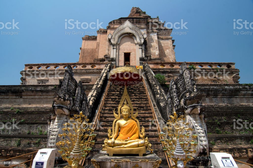 CHIANG MAI ,  THAILAND - APRIL 3, Wat Jedi Luang temple famous place is big pagoda and ancient temple in Chiang Mai, Thailand. stock photo