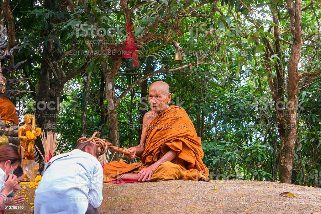 Wat Khao Khitchakut Phawanaram Monk stock photo
