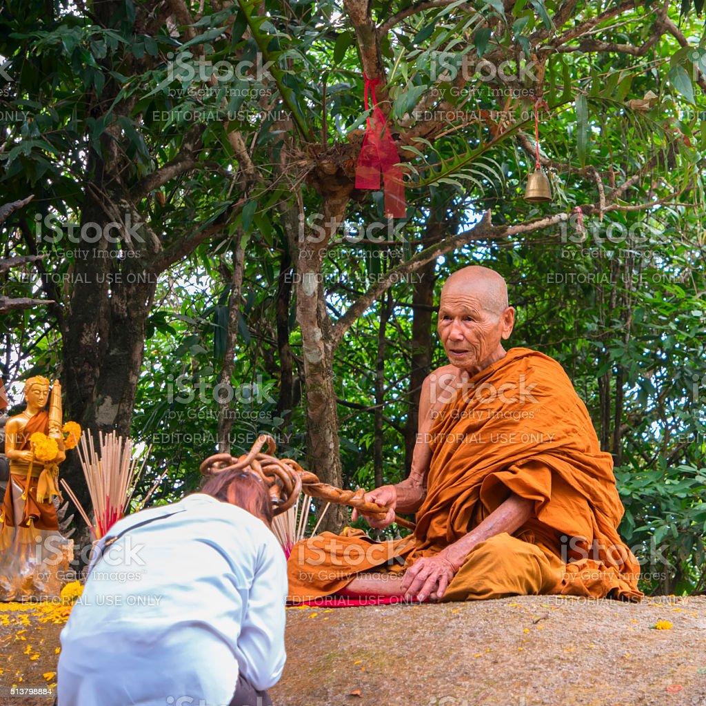 Wat Khao Khitchakut Phawanaram Monk. stock photo