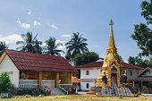 Ranong, Thailand - February 2, 2018: Wat Khuan Sai Ngam on Phet Kasem Road in Suk Samran District, Ranong, Thailand