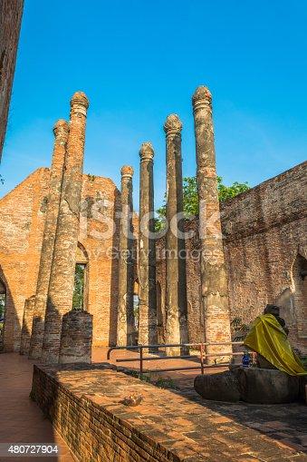 Wat Kudi Dao old temple. Asian religious architecture. Ancient pagoda at ayutthaya, thailand