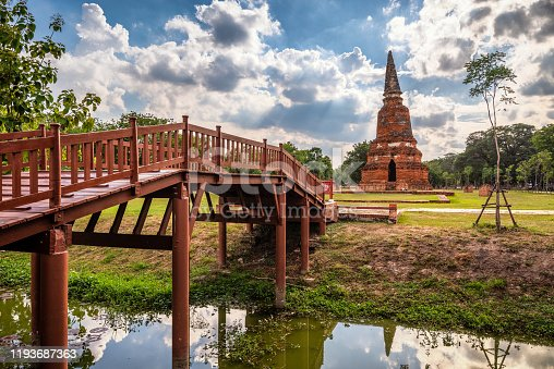 Wat Langkhakhao ruins in rama public park, Ayutthaya, Thailand