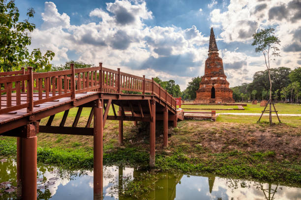 wat langkhakhao harabeleri rama kamu parkı, ayutthaya, tayland - ayutthaya bölgesi stok fotoğraflar ve resimler