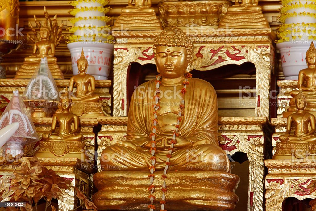 Wat Lao Buddharam Buddhist Temple Inside Altar Meditate Gold Background stock photo