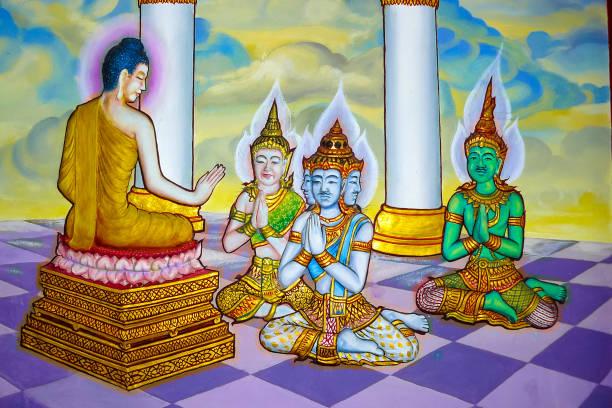 Wat Machimmaram wall decoration buddhist deities in Tumpat Malaysia stock photo