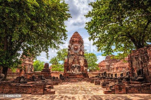 Wat Maha That old temple ruins in Ayutthaya, Thailand