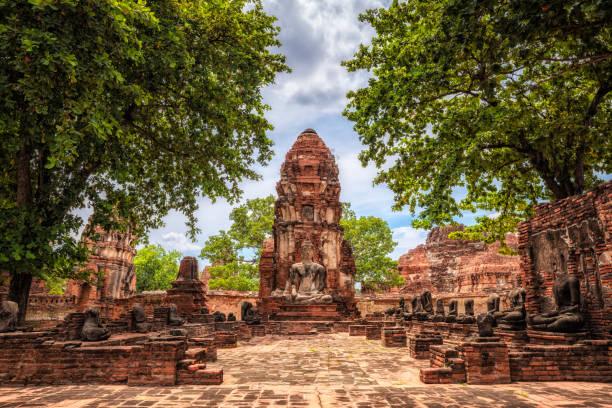 wat maha ayutthaya bu eski tapınak kalıntıları, tayland - ayutthaya bölgesi stok fotoğraflar ve resimler