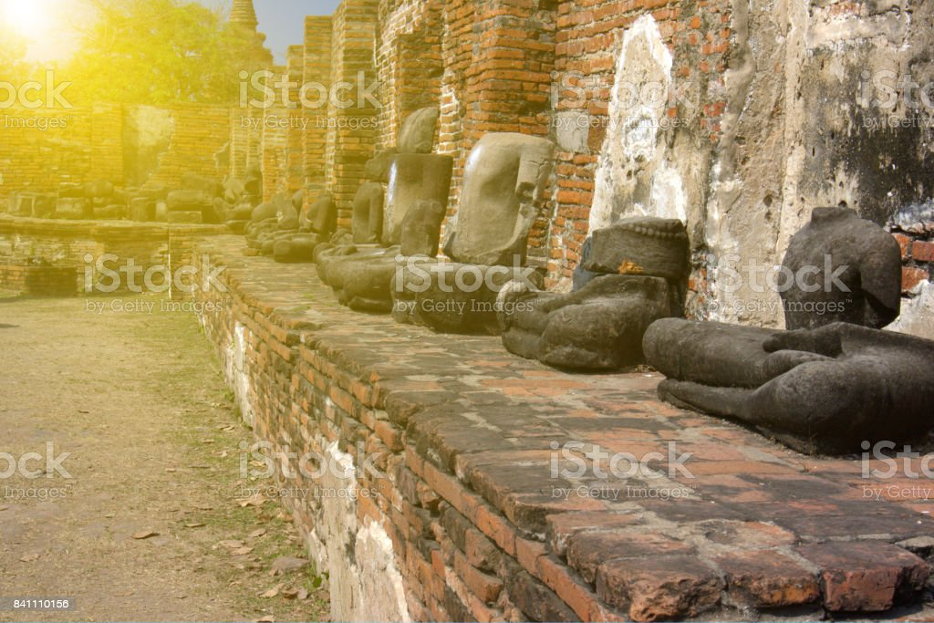 Wat MahaThat, Ayutthaya, April 9,2017, broken Buddha statues in Ayutthaya Thailand stock photo