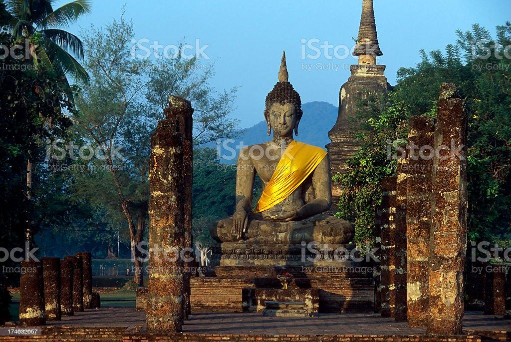 Wat Mahathat Buddha in Sukhothai Historical Park, Thailand stock photo