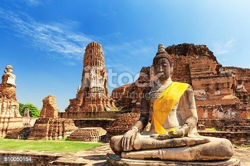 Wat Mahathat in Buddhist temple complex in Ayutthaya near Bangkok. Thailand