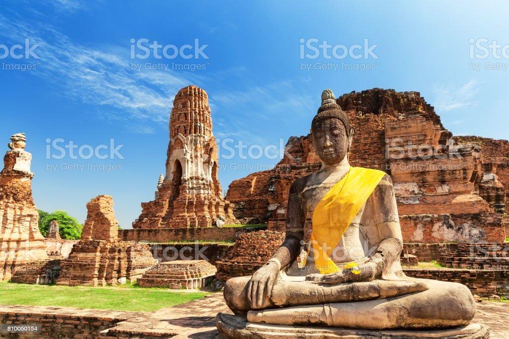 Wat Mahathat in Buddhist temple complex in Ayutthaya. Thailand stock photo