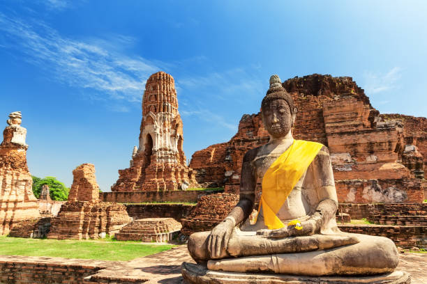 Wat Mahathat in Buddhist temple complex in Ayutthaya. Thailand stock photo