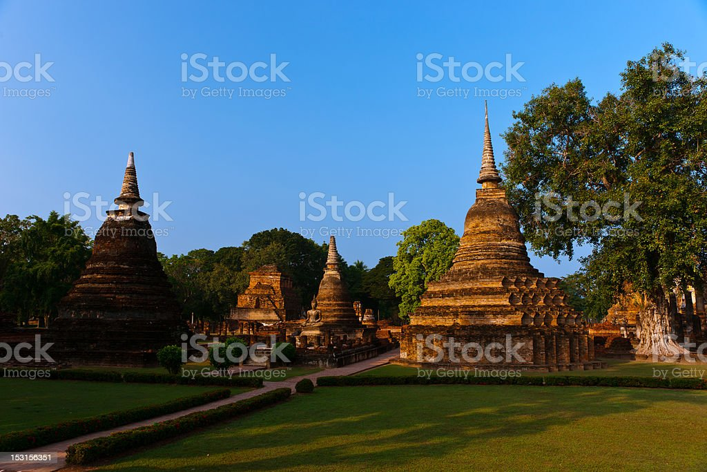 Wat Mahathat, Statues of Buddha, Sukhothai Historical Park. stock photo