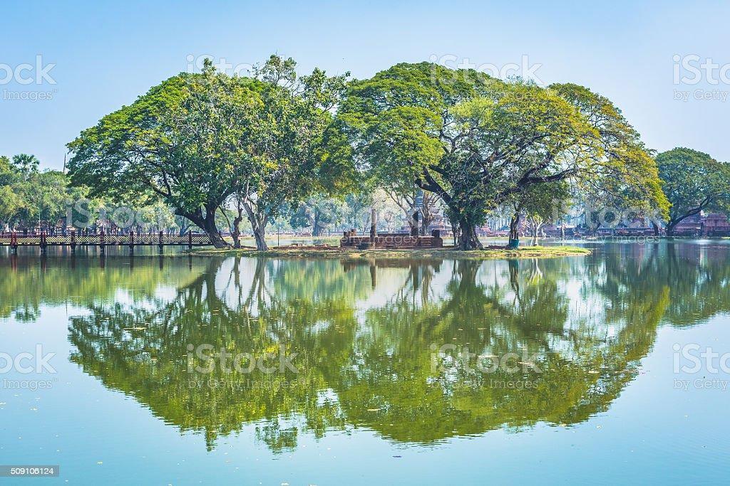 Wat Mahathat temple gardens, Sukhothai, Thailand stock photo