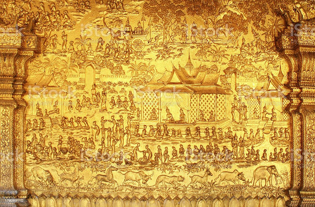 Wat Mai Suwannaphumaham, Laos royalty-free stock photo