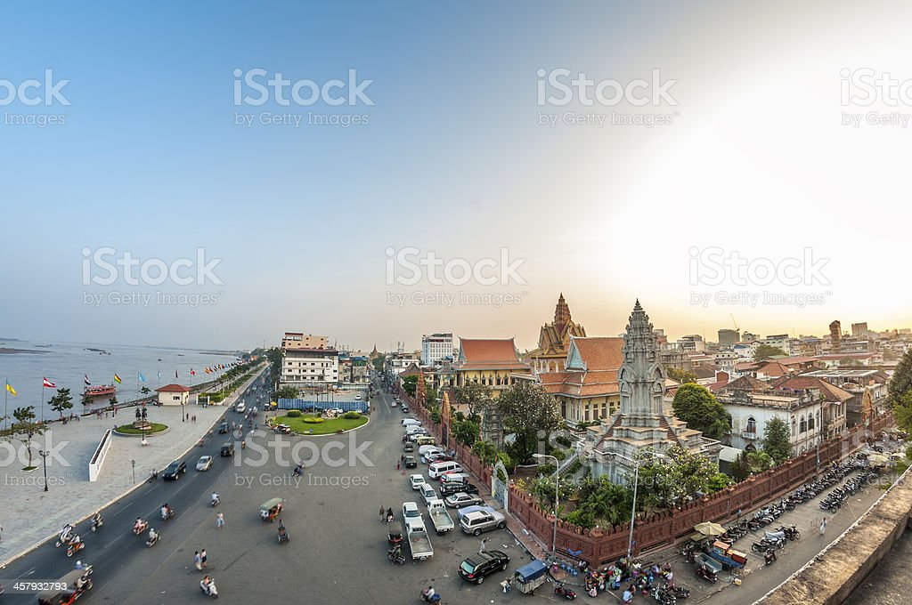 Wat Ounalom And The Riverfront Area In Phnom Penh, Cambodia royalty-free stock photo