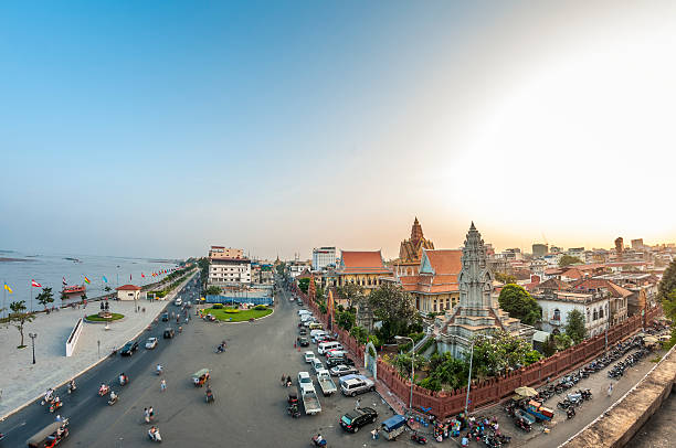 Wat Ounalom And The Riverfront Area In Phnom Penh, Cambodia stock photo