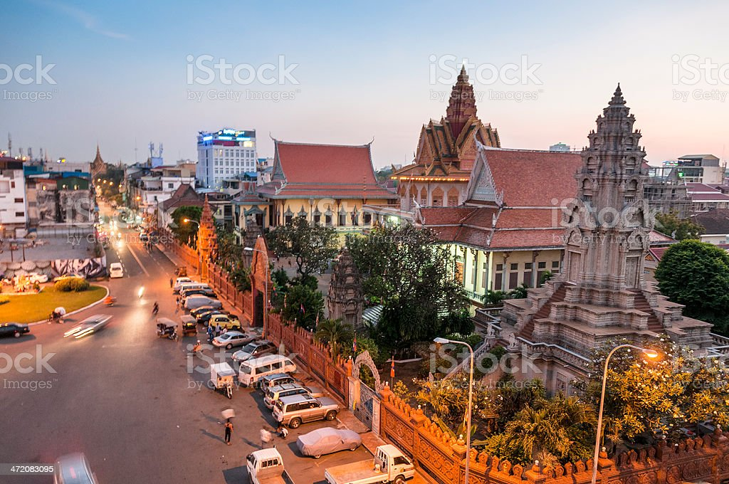 Wat Ounalom At Sunset In Phnom Penh, Cambodia royalty-free stock photo