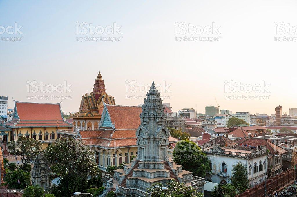 Wat Ounalom At Sunset In Phnom Penh royalty-free stock photo