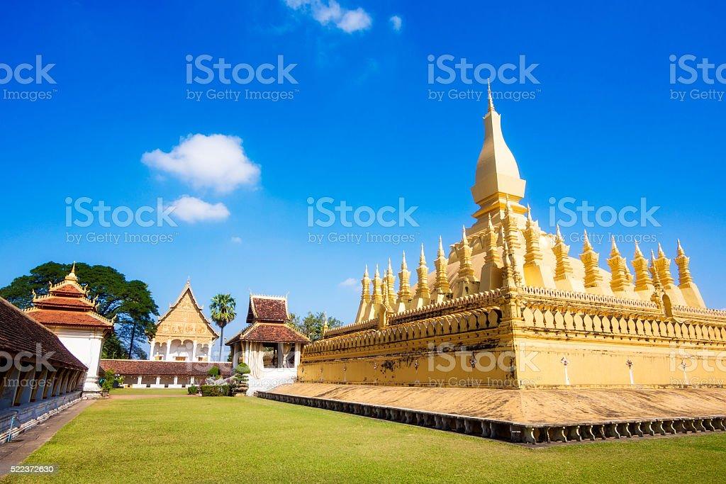 Wat Pha That Luang Temple in Vientiane, Laos stock photo