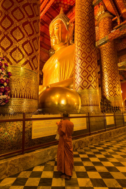 Wat Phanan Choeng, Buddha-Statue Luang Pho Tho genannt wird, Wat Phanan Choeng Tempel ist in die Stadt Ayutthaya ist ein populärer touristischer – Foto