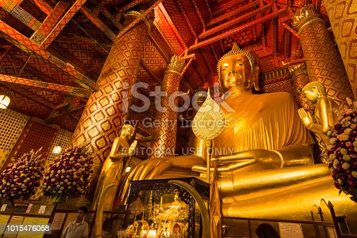 Ayutthaya, Thailand - July, 31, 2018 : Wat Phanan Choeng, Buddha statue is called Luang Pho Tho, Wat Phanan Choeng temple is in the city of Ayutthaya which is a popular tourist