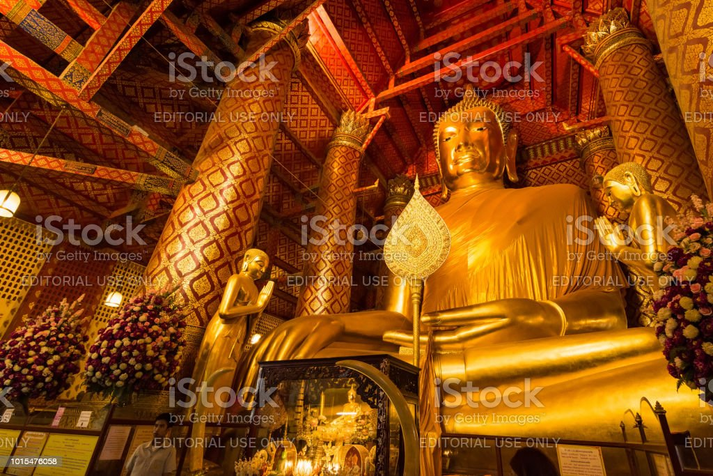 Wat Phanan Choeng, Buddha statue is called Luang Pho Tho, Wat Phanan Choeng temple is in the city of Ayutthaya which is a popular tourist stock photo
