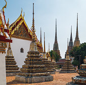 Classical Thai architecture of Wat Pho public temple, Bangkok, Thailand. Wat Pho known also as the Temple of the Reclining Buddha.