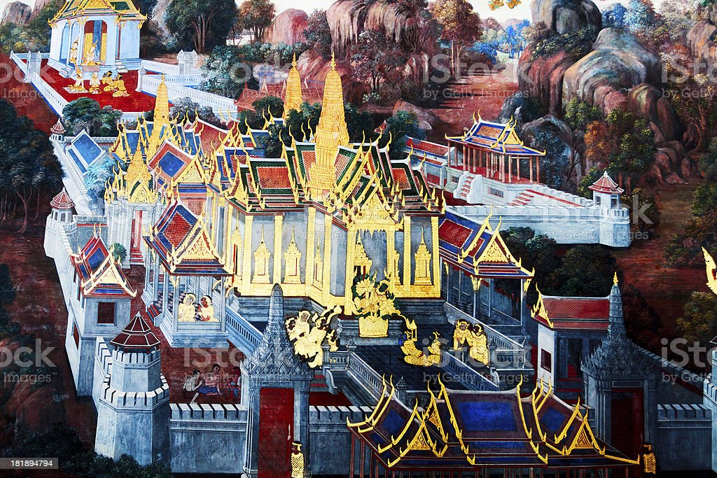 Wat Phra Kaeo in Thai histroy royalty-free stock photo