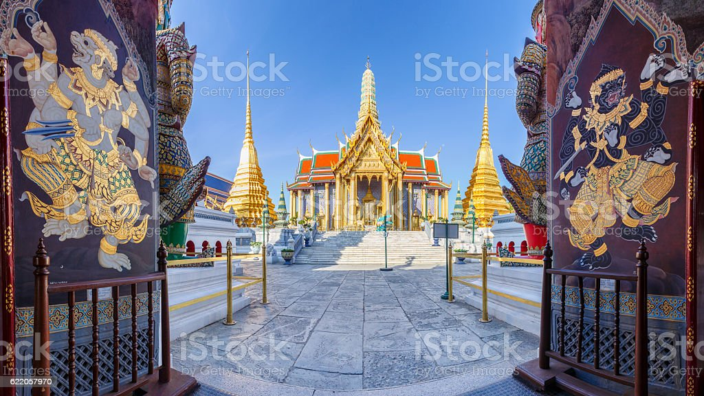 Wat Phra Kaew Ancient temple in bangkok Thailand stock photo