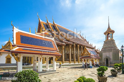 Wat Phra Kaew, also known as Temple of the Emerald Buddha and officially as Wat Phra Si Rattana Satsadaram, the most sacred Buddhist temple (wat) in Thailand. it was constructed by Rama IV in 1856