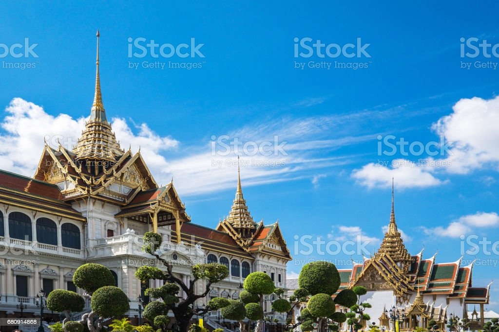 Wat Phra Kaew (The Emerald Buddha) daylight view in Thailand royalty-free stock photo