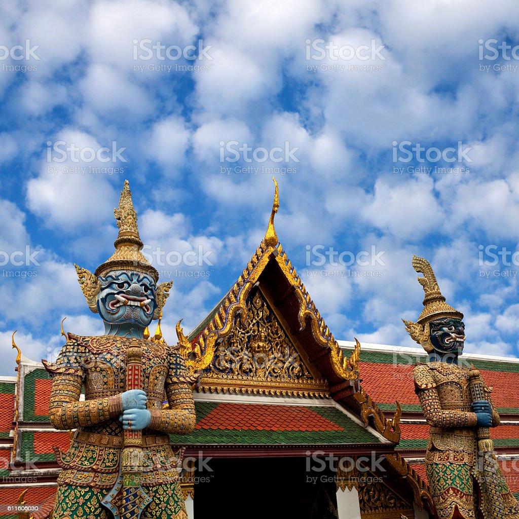 Wat Phra Kaew temple in Bangkok, Thailand. stock photo