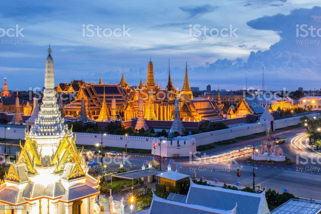 Wat phra keaw and Grand palace at Bangkok City, Thailand stock photo