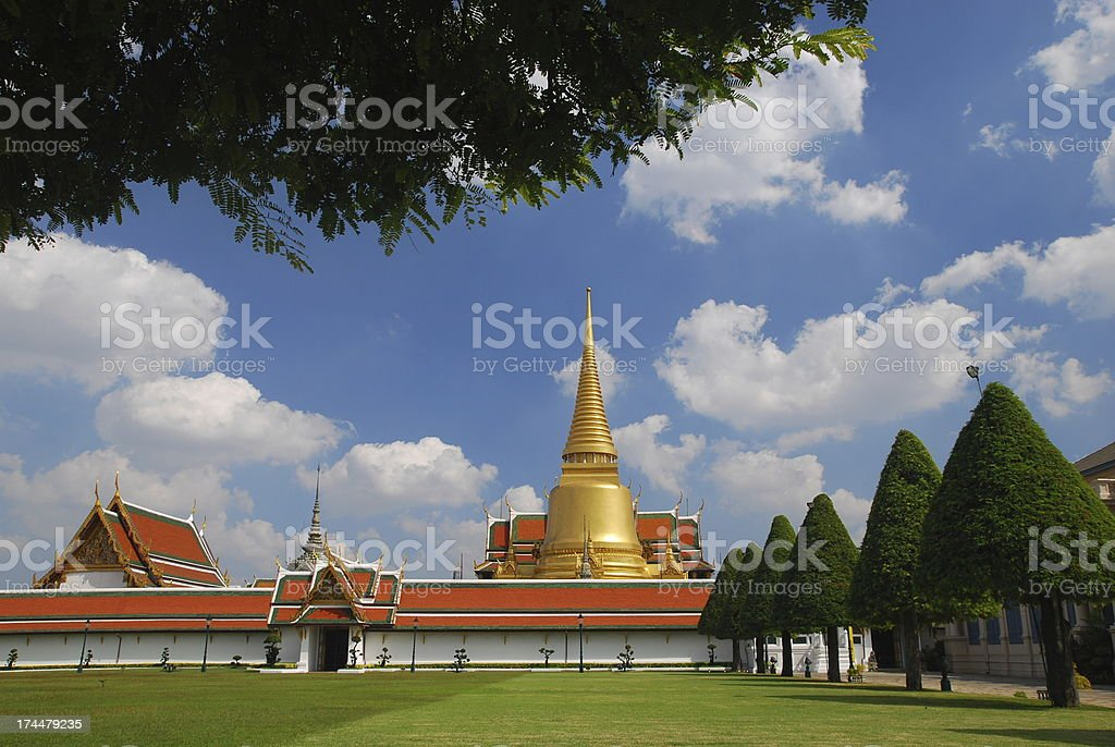 Wat Phra Keow landscape with blue sky royalty-free stock photo
