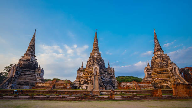 wat phra si sanphet tapınakta ayutthaya historical park, unesco dünya mirası alanı, tayland - ayutthaya bölgesi stok fotoğraflar ve resimler