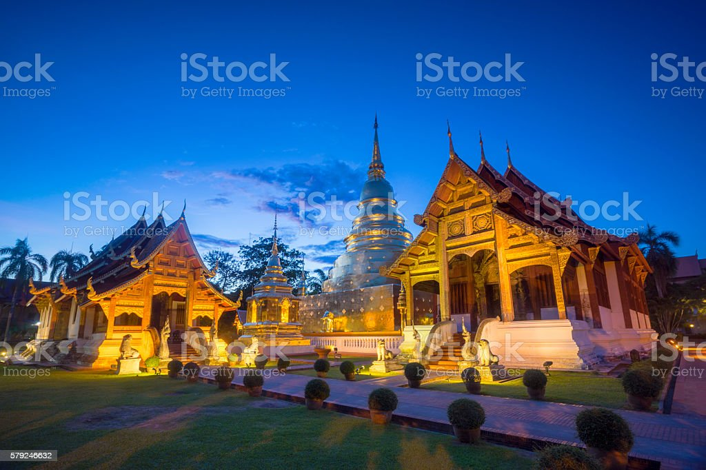 Wat Phra Sing in Chiang mai. Thailand. stock photo