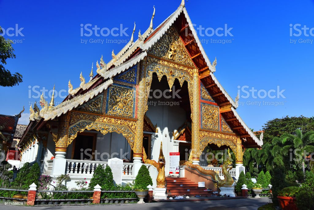 Wat Phra Singh, a Buddhist temple in Chiang Mai, Thailand stock photo
