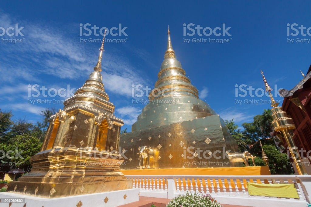 Wat Phra Singh Buddhist temple in Chiang Mai, Thailand. stock photo