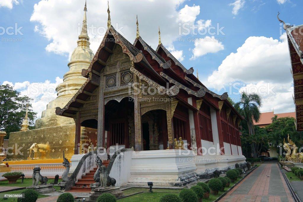 Wat Phra Singh Chiang Mai Buddha Thailand Temple Buddhism God stock photo