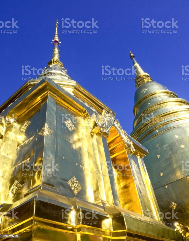 Wat Phra Singh Pagoda On Blue Sky Background stock photo