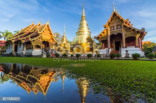 istock Wat Phra Singh temple and reflection in water. Chiang Mai 627330022