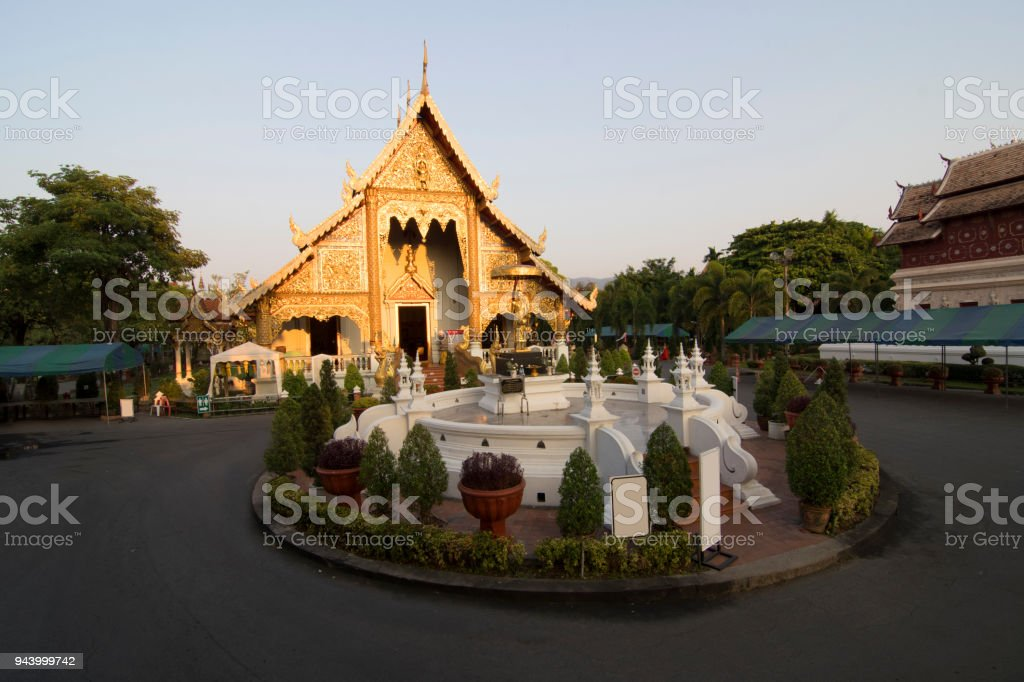 Wat Phra Singh temple in the morning at Chiang Mai, Thailand. stock photo
