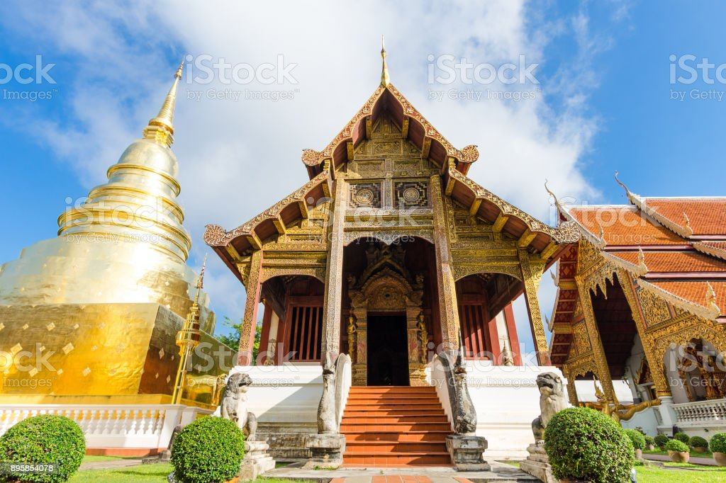 Wat Phra Singh temple  is located in the western part of the old city center of Chiang Mai, Thailand. stock photo