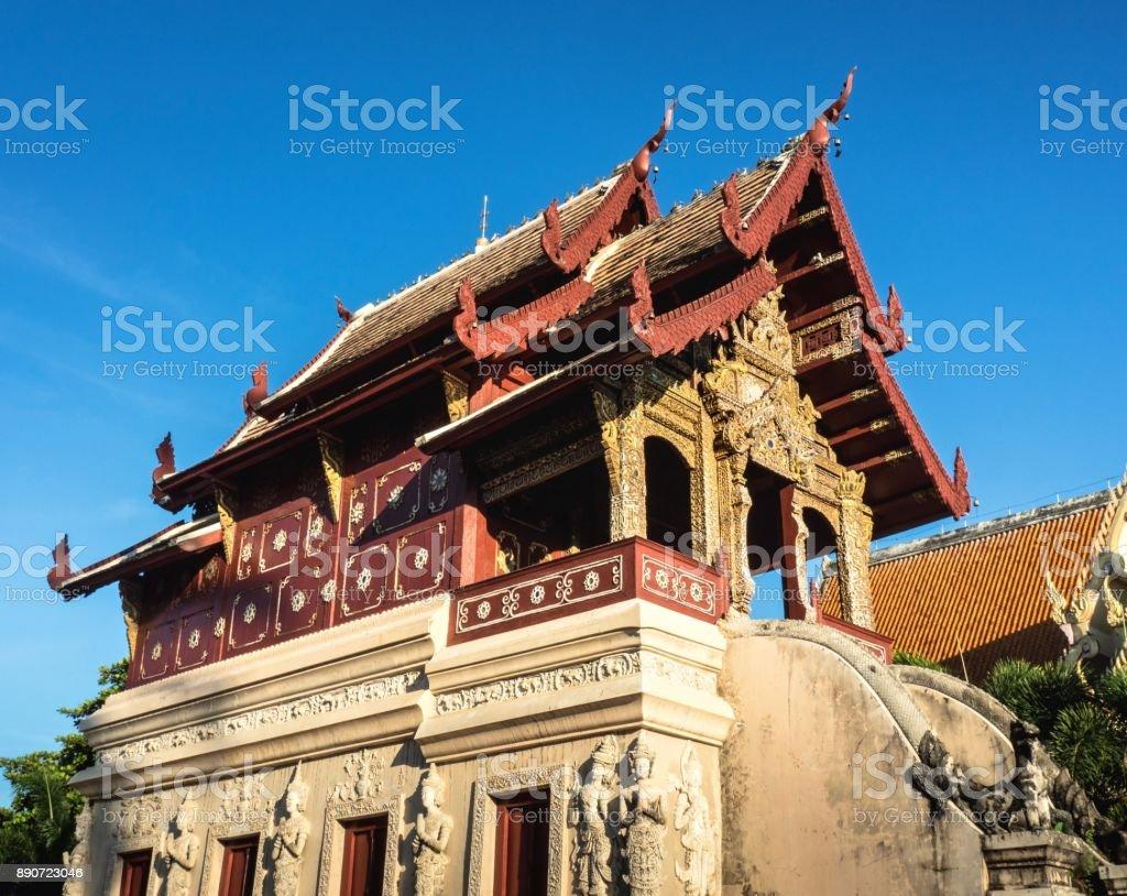 Wat Phra Singh Temple On Blue Sky Background stock photo