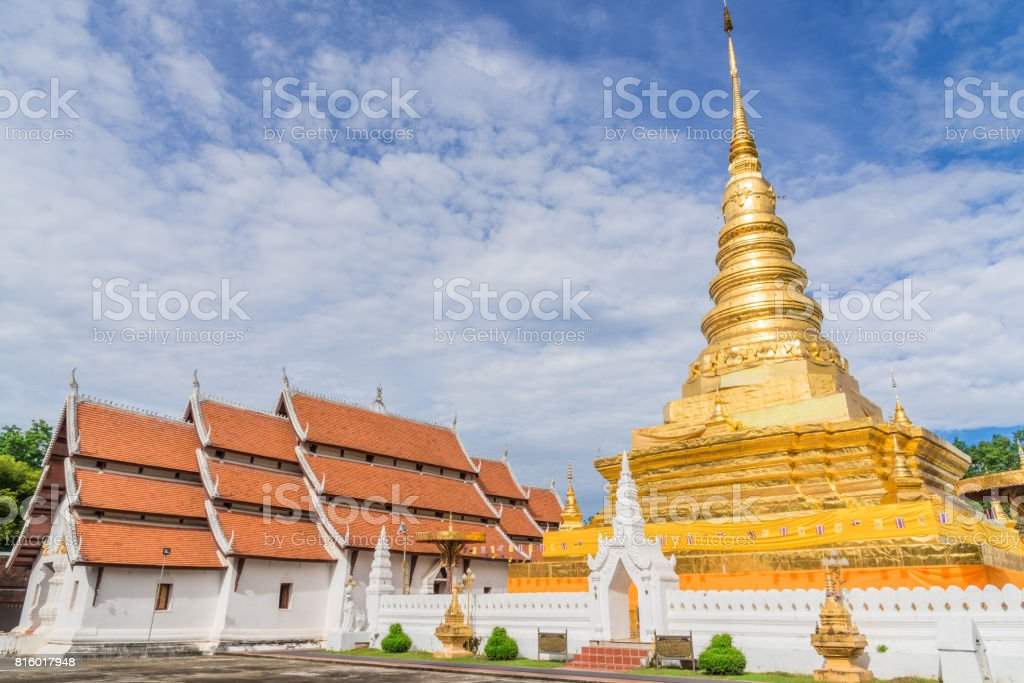 Wat Phra That Chae Haeng temple at Nan province, Thailand. stock photo