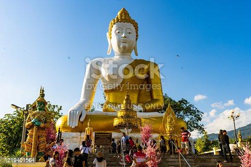 Thailand,chiangmai,travel Wat Phra That Doi Kham,blue sky and golden temple