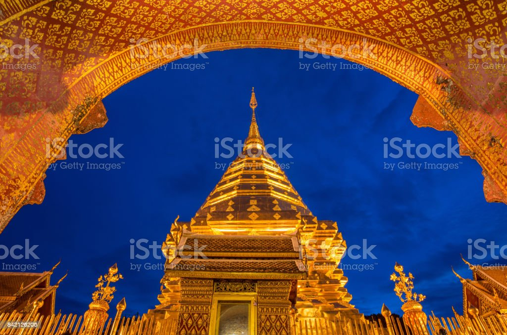 Wat Phra That Doi Suthep an iconic historical landmark in Chiang Mai the northern province of Thailand. stock photo