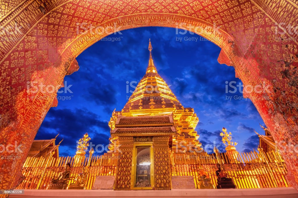 Wat Phra That Doi Suthep an iconic historical landmark in Chiang Mai the northern province of Thailand stock photo